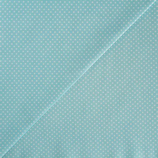 Хлопок - Мелкий белый горох на мятном 50x40
