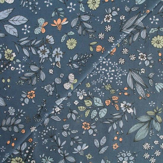 Хлопок - Лесные цветы на синем 50x40