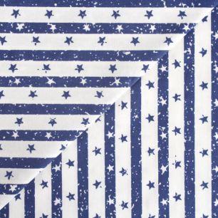 Хлопок - Полоска синяя со звездами 50x40