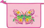 "Папка для тетрадей А4 ""Бабочка на розовом"" (формат для труда) блест+объем (арт. 61Тр45_1088) 6451088 /36/"