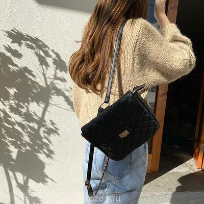 Маленький ароматный ветер мешок темперамент lingerry ПУ мешок трехмерный замок флип zip мешок рюкзак одно плечо сумочка женская сумка