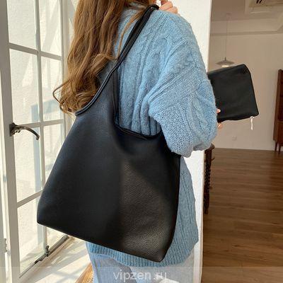 Тотализатор женская большая емкость корейская версия простой рюкзак 2020 новый сплошной цвет легкий ПУ мягкая кожа тотализатор сумочка