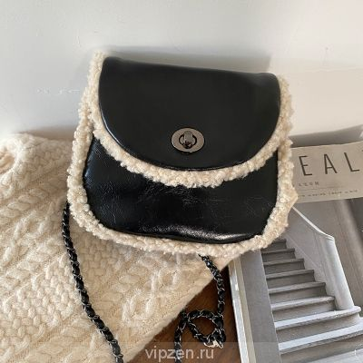 Женская сумка 2020 новая корейская версия осень и зима мода цепи ягненка мех сумка через плечо женщины INS одно плечо полукруг седло сумка