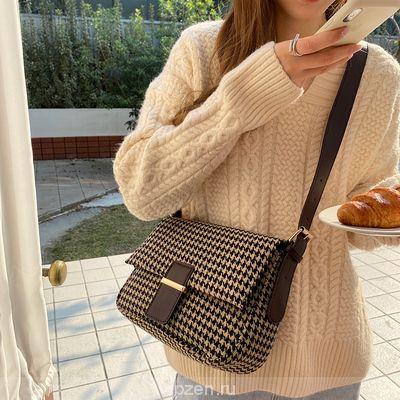 Французская ниша сумка осень и зима Новый Чидори плед ретро студент Джокер сумка Crossbody мешок большой емкости женщины
