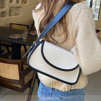 2020 корейская версия осени и зимы новый прилив крокодил узор цвет лоскут дикий багет сумка одно плечо Crossbody женская сумка ретро подмышки сумка