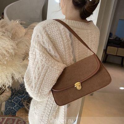 2020 корейская версия нового ретро вельвет одно плечо застежка подмышки мешок ins осень и зима женская сумка дикий прилив багет пакет