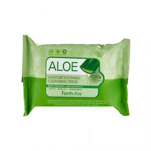 371586 FarmStay Очищающие увлажняющие салфетки с экстрактом алоэ Aloe Moisture Soothing Cleansing Tissue