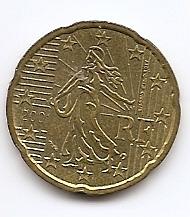 20 евроцентов Франция 2001 регулярная  из обращения