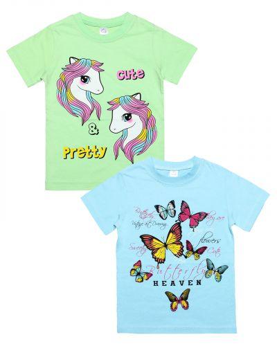 "Футболка для девочек Bonito kids ""Pony & butterflies"" 4-8 лет"