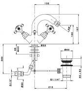 Смеситель для биде с поворотным изливом Nicolazzi 2134 схема 1