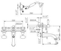 Смеситель для ванны/душа Nicolazzi 2103 с изливом и душем схема 1