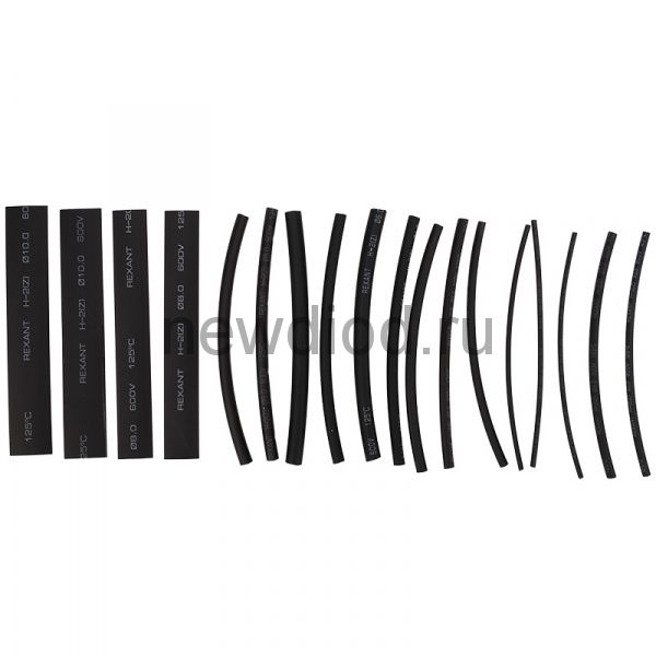 Термоусаживаемые трубки STANDARD 2:1 (Набор 18шт.) REXANT