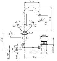 Смеситель для раковины Nicolazzi Nuova Brenta 2536 схема 1
