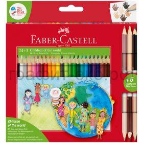 Карандаши цв.24цв.Faber-Castell Дети мира+3шт.2х сторонн.201745