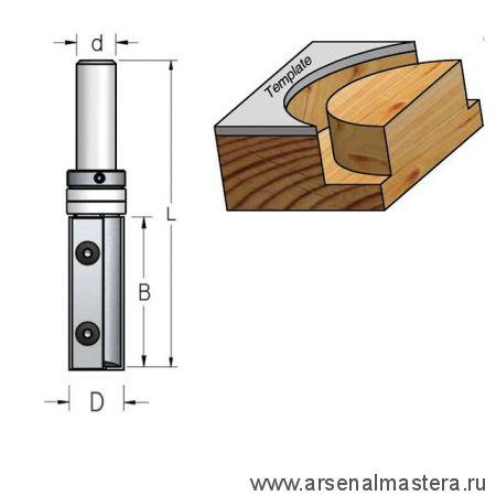 Фреза копирующая сменные ножи верхний подшипник D19 B50 Z2 хвостовик 12 WPW PFM7192