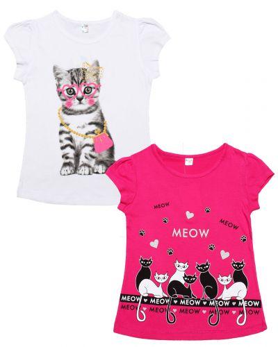 """Футболка для девочек Dias kids 8-12 лет """"Meow"""""""