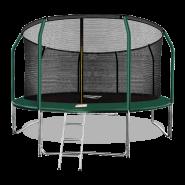Батут Arland 14FT премиум с внутренней страховочной сеткой и лестницей (Dark green)