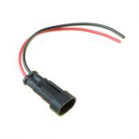 RK04102 * Разъем 2-х контактный штыревой с проводами сечением 0,5 кв.мм, длина 120 мм