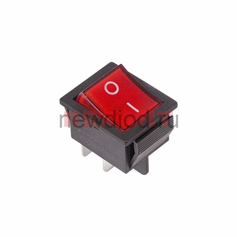 Выключатель клавишный прямоугольный 250V 16А (4с) ON-OFF красный  с подсветкой  REXANT