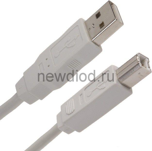 Кабель USB (шт. USB B - шт. USB A) 1.8 метра, серый REXANT