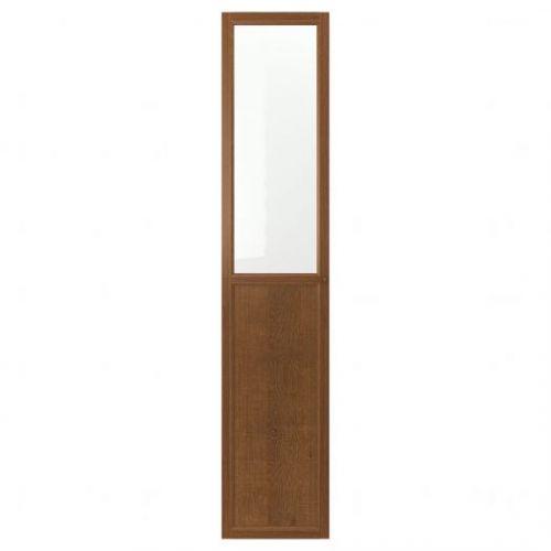 OXBERG ОКСБЕРГ, Панельн/стеклян дверца, коричневый ясеневый шпон, 40x192 см - 503.834.16