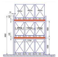 Паллетный стеллаж 3600х2850х1050 (1980кг)