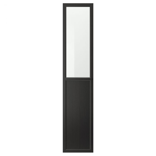 OXBERG ОКСБЕРГ, Панельн/стеклян дверца, черно-коричневый, 40x192 см - 003.834.14
