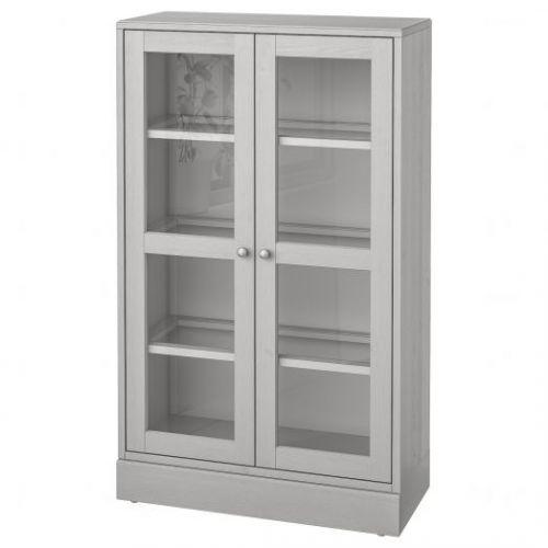 HAVSTA ХАВСТА, Шкаф-витрина с цоколем, серый/прозрачное стекло, 81x37x134 см - 892.751.09