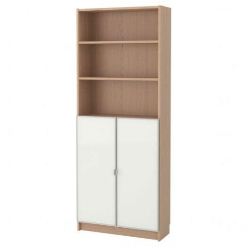 BILLY БИЛЛИ / MORLIDEN МОРЛИДЕН, Шкаф книжный со стеклянными дверьми, дубовый шпон, беленый/стекло, 80x30x202 см - 992.873.57
