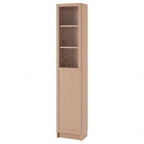 BILLY БИЛЛИ / OXBERG ОКСБЕРГ, Стеллаж/панельная/стеклянная дверь, дубовый шпон, беленый/стекло, 40x30x202 см - 992.874.18