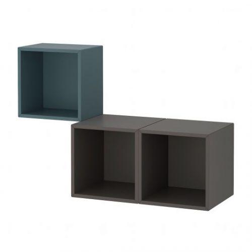 EKET ЭКЕТ, Комбинация настенных шкафов, серо-бирюзовый/темно-серый, 105x35x70 см - 693.860.47