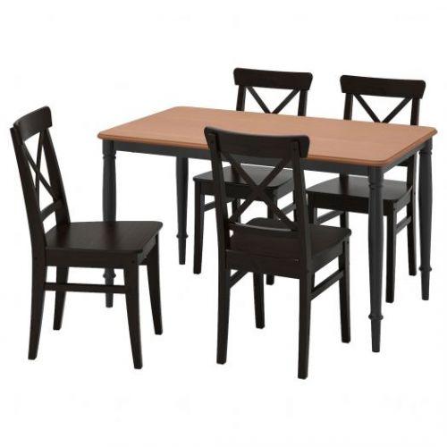 DANDERYD ДАНДЭРЮД / INGOLF ИНГОЛЬФ, Стол и 4 стула, коричнево-чёрный/черный, 130x80 см - 293.925.40