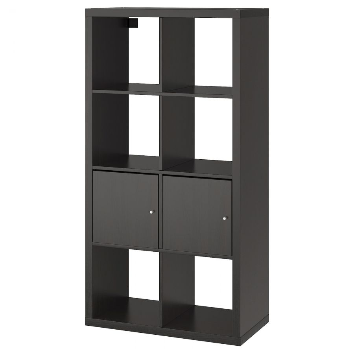 KALLAX КАЛЛАКС, Стеллаж с 2 вставками, черно-коричневый, 77x147 см - 092.268.96
