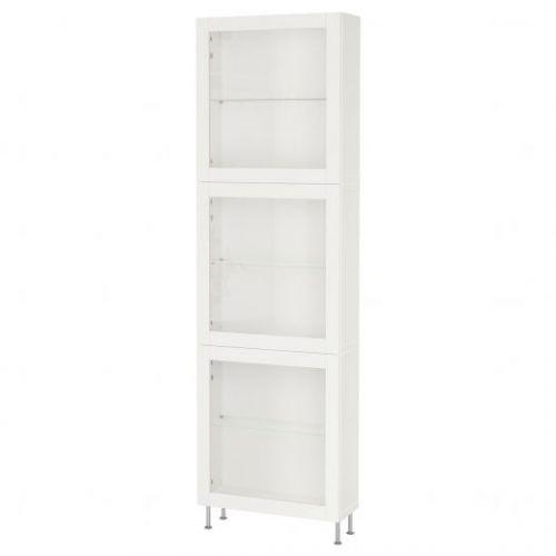 BESTA БЕСТО, Комбинация д/хранения+стекл дверц, белый/синдвик/сталларп белый прозрачное стекло, 60x22x202 см - 793.016.32