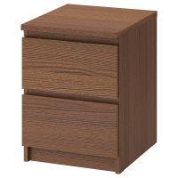 MALM МАЛЬМ, Комод с 2 ящиками, коричневая морилка ясеневый шпон, 40x55 см - 803.685.27