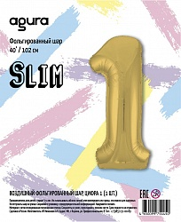 Шар (40''/102 см) Цифра 1 Slim, Золото, в упак.