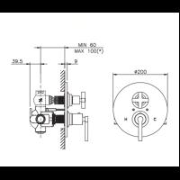 Термостат для душа Nicolazzi 4909 наружная часть схема 1