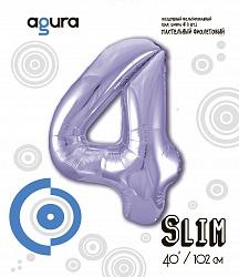 Шар (40''/102 см) Цифра 4 Slim, Сиреневый, в упак.