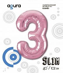 Шар (40''/102 см) Цифра 3,Розовый фламинго , в упак.