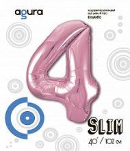 Шар (40''/102 см) Цифра 4,Розовый фламинго , в упак.