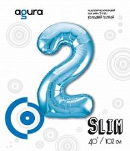 Шар (40''/102 см) Цифра 2 Slim, Голубой,  в упак.