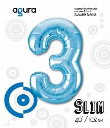 Шар (40''/102 см) Цифра 3 Slim, Голубой,  в упак.