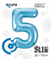 Шар (40''/102 см) Цифра 5 Slim, Голубой,  в упак.