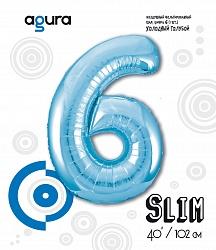 Шар (40''/102 см) Цифра 6 Slim, Голубой,  в упак.