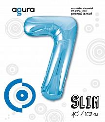 Шар (40''/102 см) Цифра 7 Slim, Голубой,  в упак.