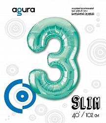 Шар (40''/102 см) Цифра 3 Slim, Бискайский зеленый,  в упак.