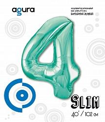 Шар (40''/102 см) Цифра 4 Slim, Бискайский зеленый,  в упак.
