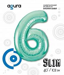 Шар (40''/102 см) Цифра 6 Slim, Бискайский зеленый,  в упак.