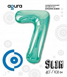 Шар (40''/102 см) Цифра 7 Slim, Бискайский зеленый,  в упак.
