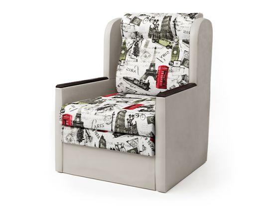 Кресло-кровать Классика Д экокожа беж и велюр